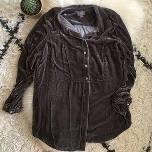 Charcoal gray velvet long sleeve shirt